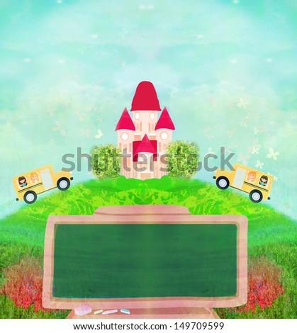 school bus heading to school with happy children  - stock photo