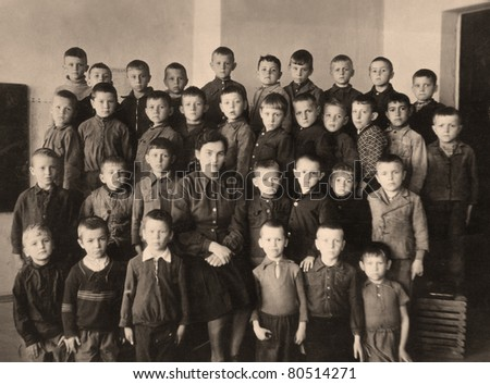 School group, an old picture of 40 years of XX century - stock photo