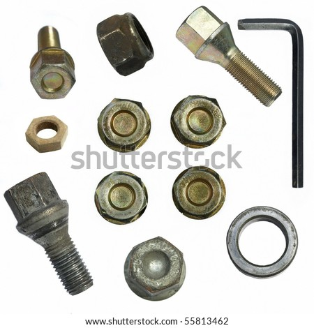 Screw heads, bolts, wheels screw, tools isolated on white background
