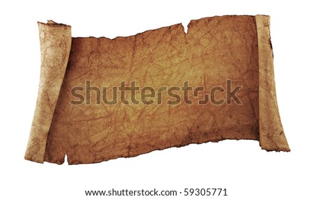 scroll of old parchment, isolated on a white background - stock photo