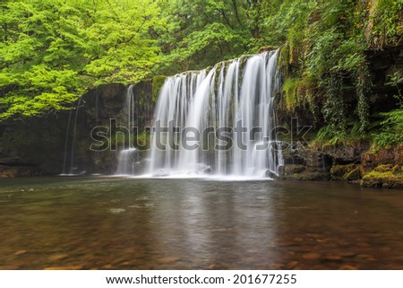 Scwd Ddwli waterfall in Brecon Beacons national park in Wales. - stock photo