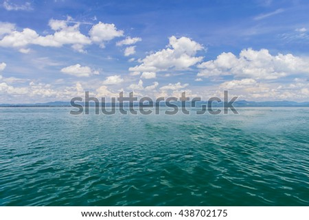 Sea and blue sky with clouds background