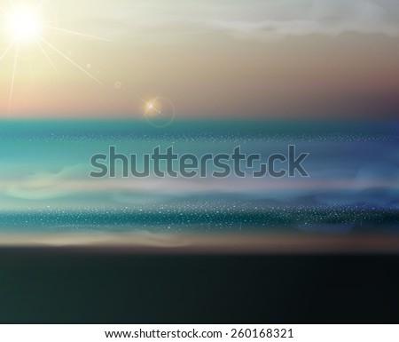 sea landscape with the setting sun - stock photo