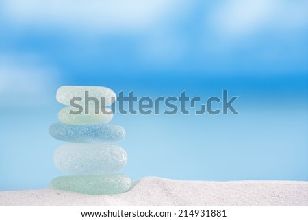 seaglass with ocean , white sandy beach and seascape, shallow dof - stock photo