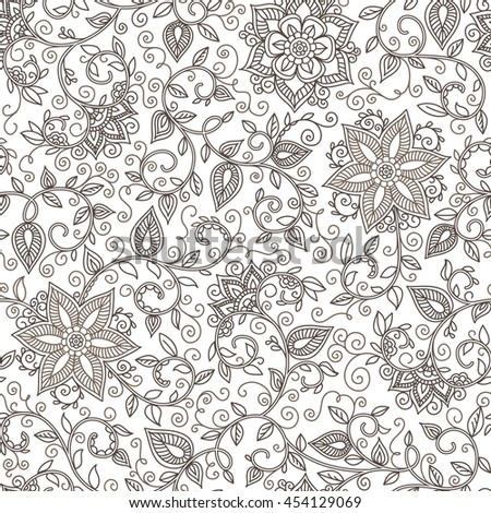 seamless black and white pattern of spirals, swirls, doodles