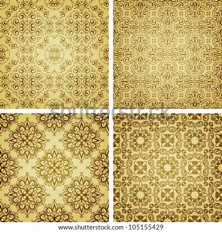 seamless golden patterns, oriental style, can be used as patterns, wrapping paper