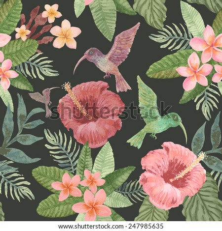 Seamless pattern from hand drawn watercolor elements of exotic small birds,  tropical  flowers and fantasy foliage at the dark grey background - stock photo