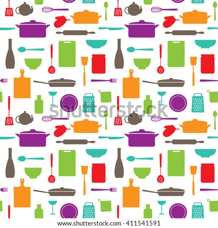 seamless pattern of kitchen silhouettes on white background. Raster version