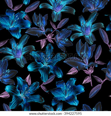 Seamless pattern with blue lilies. Watercolor.  Hand drawn. - stock photo