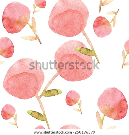 Seamless pattern with delicate pink flowers on a white background. Watercolor painting. - stock photo