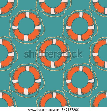 Seamless pattern with orange life buoys on a turquoise background.   Seamless pattern can be used for wallpaper, pattern fills, web page background, surface textures.