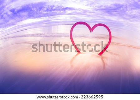 seaside big red heart  - St. Valentines Day concept , Vintage - stock photo