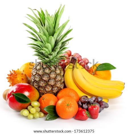 Seasonal organic raw fruit. Isolated over white background - stock photo