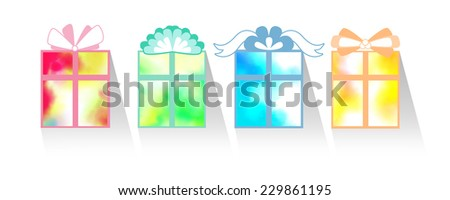 4 seasons giftboxs - stock photo