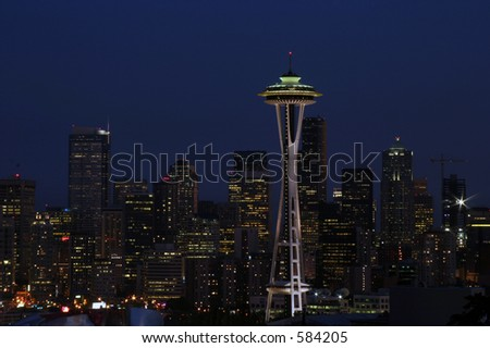 seattle at night with the moon