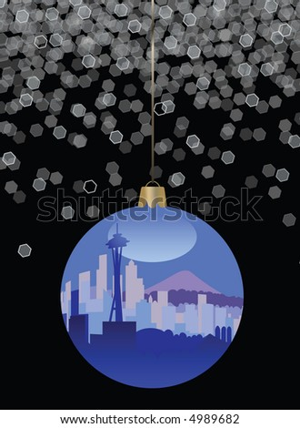 * Seattle Skyline Christmas Ornament - stock photo