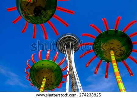 Seattle, USA. The Space Needle was built in 1962 for the World's Fair. - stock photo