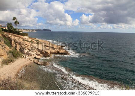 Secluded bays and beautiful coastline in Benissa Alicante Spain  - stock photo