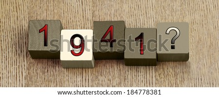1941, Second World War, 1939 - 1945, sign series for famous dates and historical events, education and history lessons. - stock photo