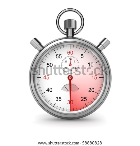30 seconds. Isolated stopwatch on white. Clipping path included. Computer generated image.