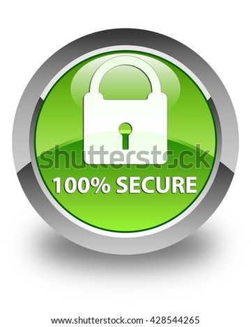 100% secure glossy green round button