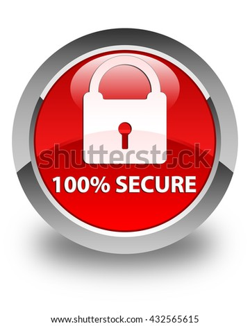 100% secure glossy red round button