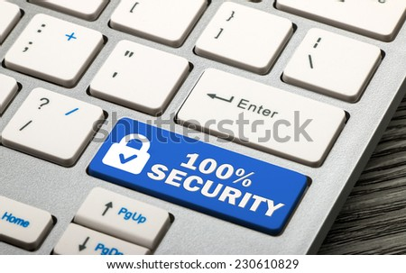 100% security concept on keyboard