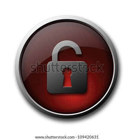 """""""Security lock off"""" red glossy button isolated on white background - stock photo"""