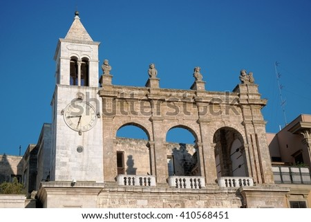 """Sedile"" Palace in Mercantile Square of Bari Old Town, Italy - stock photo"