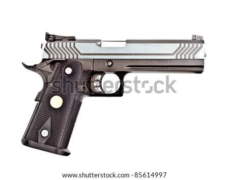 .45 semi-automatic handgun on right hand side view, studio shot - stock photo