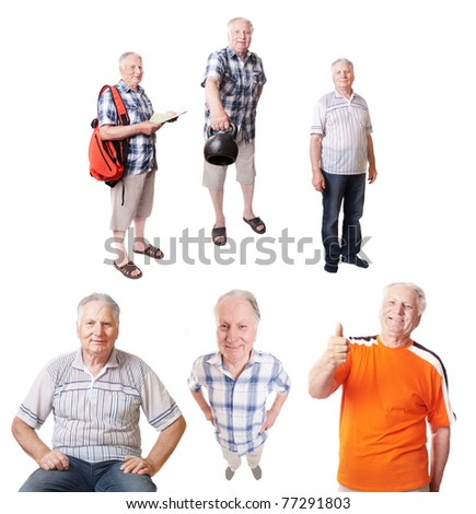 senior man isolated on white - stock photo