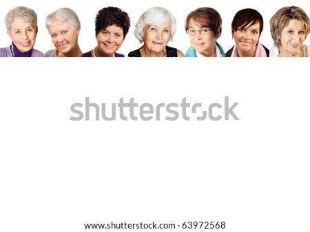 7 senior woman portraits  in the age 51-77 years, cheerful smiling,in a row on white background - stock photo