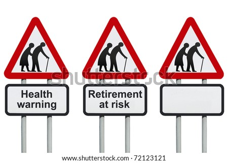 Seniors elderly health and retirement roadsign - stock photo