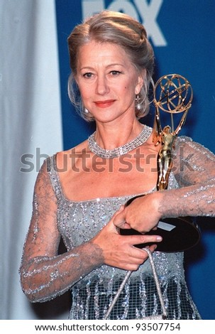 "12SEP99: Actress HELEN MIRREN with her Emmy Award for Best Lead Actress in a Miniseries for ""The Passion of Ayn Rand.""  Paul Smith / Featureflash"