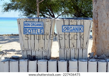 Separate bins for garbage on the island of Gili Trawangan, Indonesia
