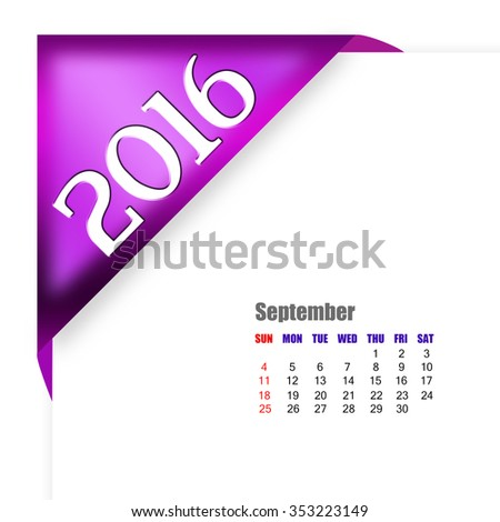 2016 September calendar - stock photo