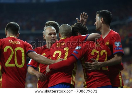 2 september 2017. Stadio Santiago Bernabèu, Madrid, Spain. FIFA 2018 World Cup Qualifier. Group G. Match between Spain vs Italy. Isco score the gol and celebrates.