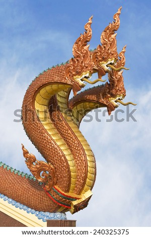 serpent statues 3 head in Thailand - stock photo