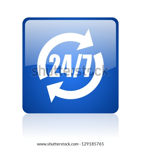 24/7 service blue square glossy web icon on white background
