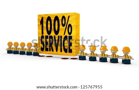 100 % Service builder symbol with cute mini 3d characters