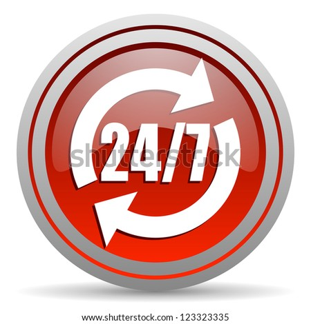 24/7 service red glossy icon on white background