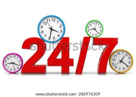 24-7 Service Red Text with Colorful Round Wall Clocks on White Background 3D Illustration - stock photo