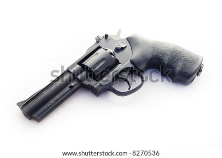 .177 Service revolver on white background - stock photo