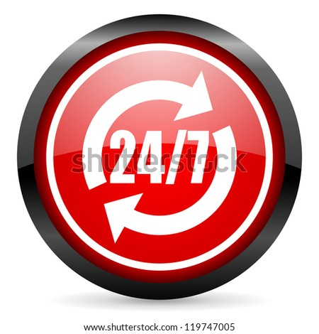 24/7 service round red glossy icon on white background