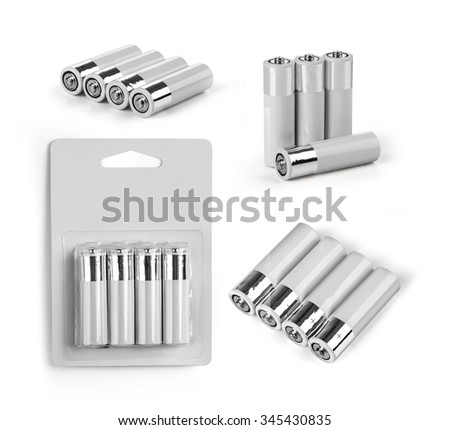 set a of AA size batteries isolated on white background  - stock photo