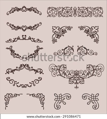 set: calligraphic design elements and page decoration, Premium Quality and Satisfaction Guarantee Label collection with vintage engraving flowers. - stock photo