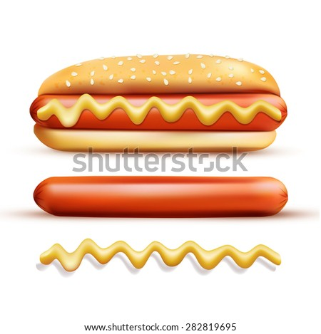 set consisting of elements: a bun, mustard, sausage ( isolated on a white background) - stock photo