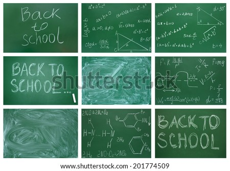 Set from nine works. Back to school. An inscription on a school board. A dirty school board. Formulas on a school board. - stock photo