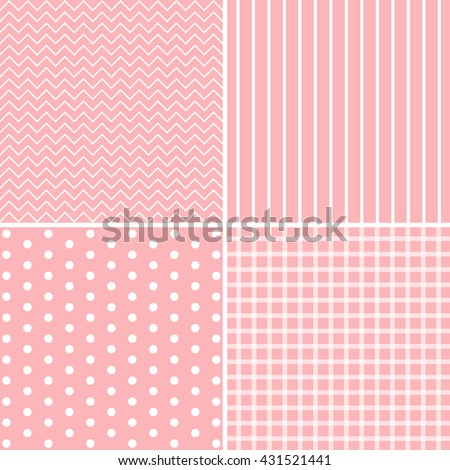 set of 4 background patterns in pale pink.  - stock photo