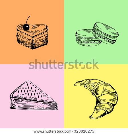 set of bakery sweets. Hand drawing pastry, bakery products. Elements for cake websites. Cake, croissant, pie, macaroon, pastries. Vintage concept for bakery or cafe - stock photo